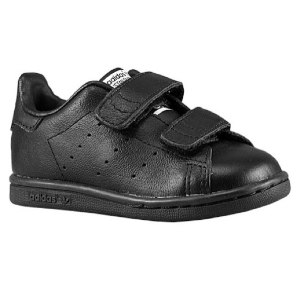 sneakers for cheap 6a8e9 dc2f0 Adidas Toddler Stan Smith Black 7 Velcro Classic